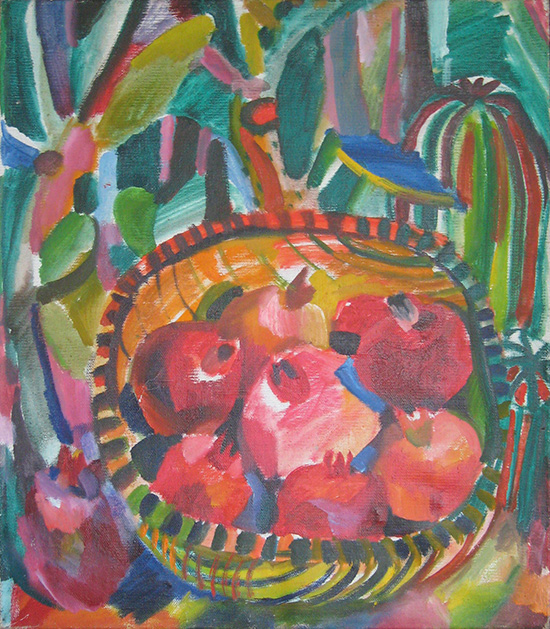 Cactuses and grenadines in a basket54x47cm - 1985
