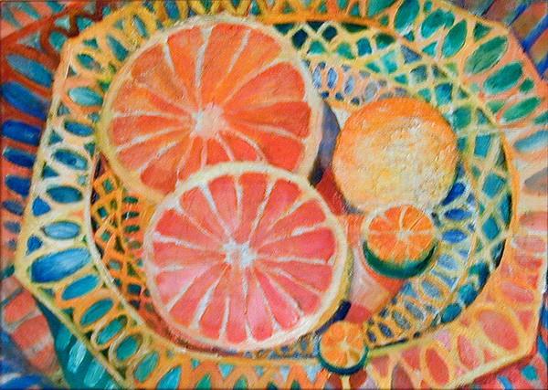 Грейпфруты в плетенке40x60см - 1986