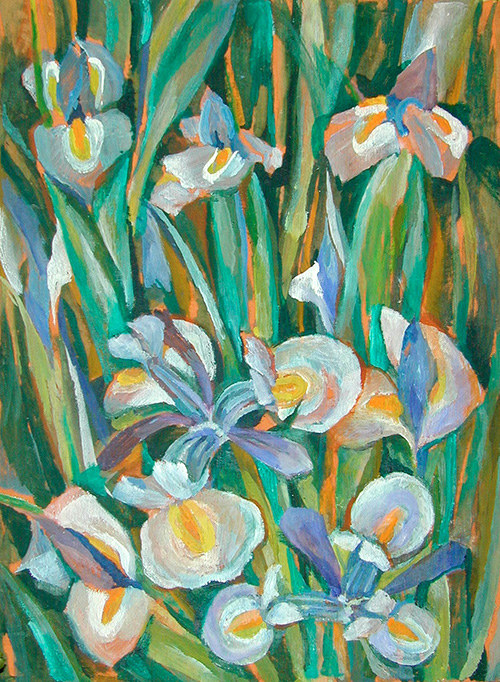 Irises on ochre60x40cm - 1986