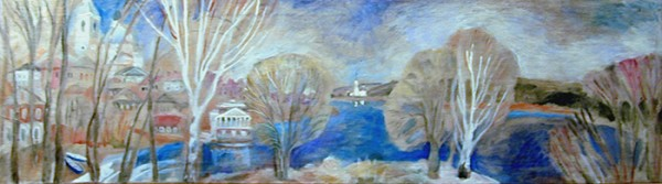 Spring on the Volga. Mishkin46x170cm - 1989