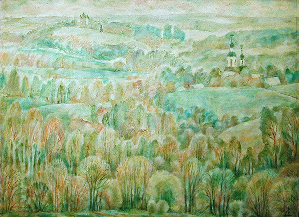 Borodino field. Spring98x133cm - 1991