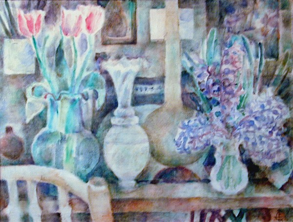 Весенний натюрморт61x80см - 1992