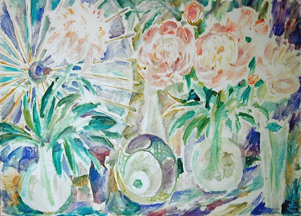 Chinese umbrella and peonies70x98cm - 1993