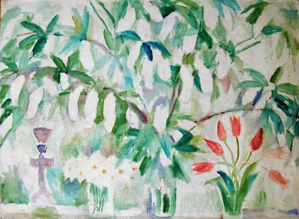 Bird-cherry and tulips91x125cm - 1993