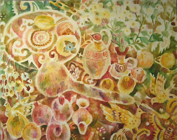 Shawl with birds and gourd98x122cm - 1993