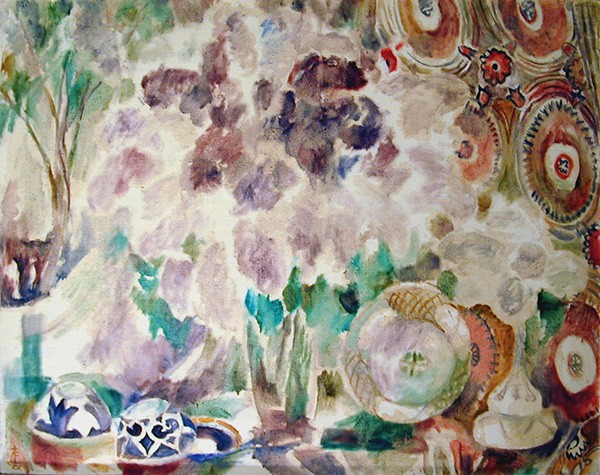 Lilac with blue bowl98x128cm - 1993