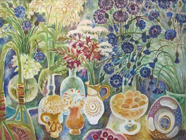 Синий летний натюрморт84x111см - 1993