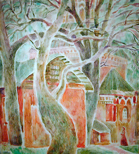 April. Temple of St. Panteleimon96x85cm - 1994