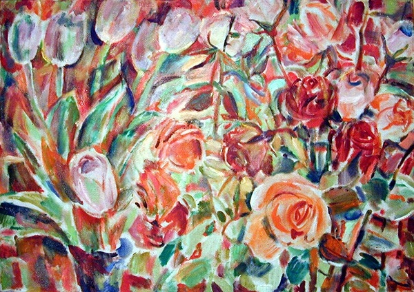 Flowers in red70x100cm - 1995