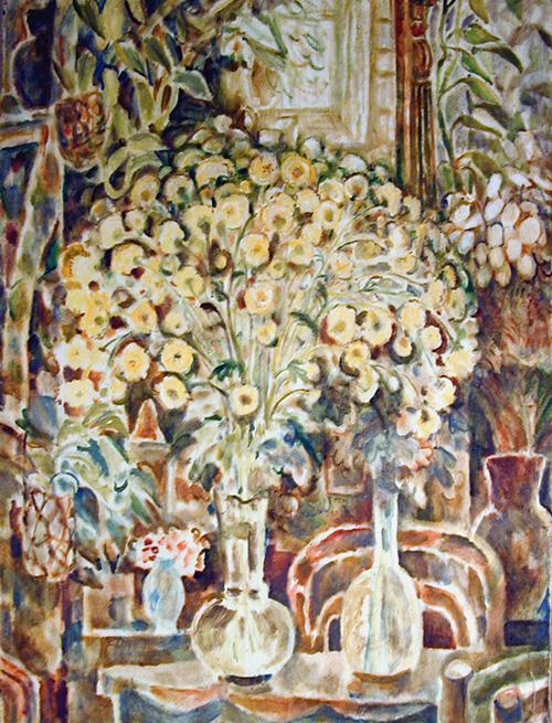 Хризантемы в зеркале125x90см - 1995