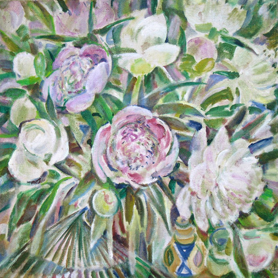 Peonies and fan70x69cm - 1995