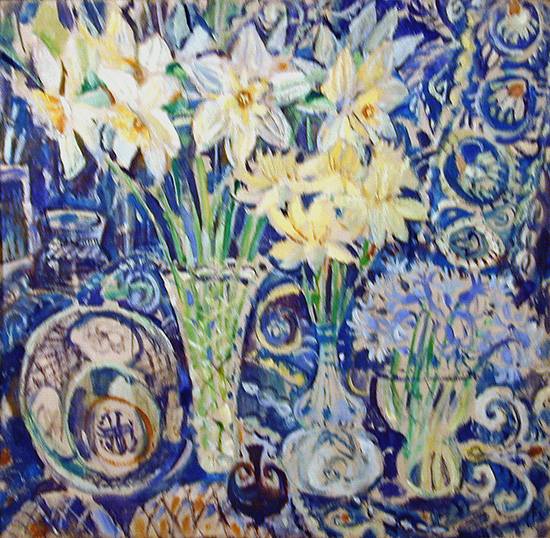Daffodils on blue68x68cm - 1996