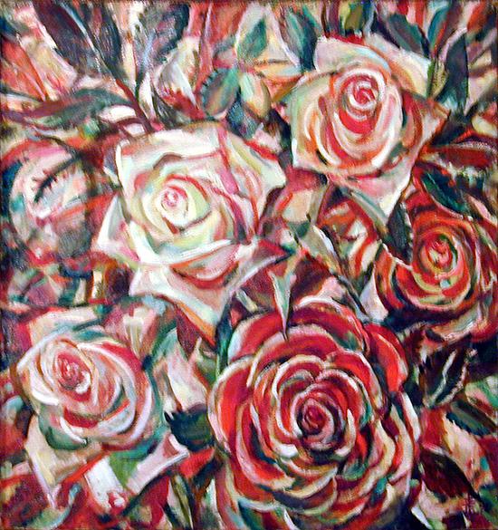 Розы в красном67x65см - 1996
