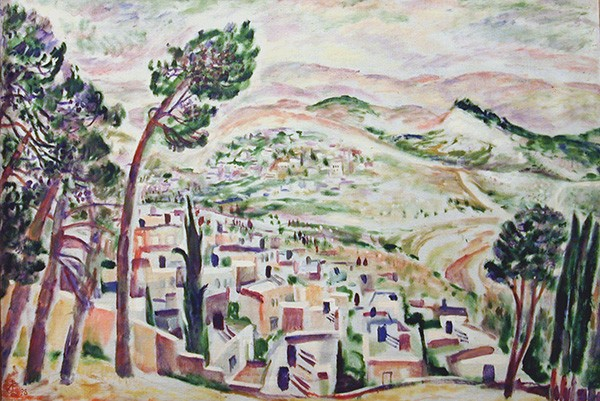 View from Mount Eleon onto a desert69x99cm - 1998