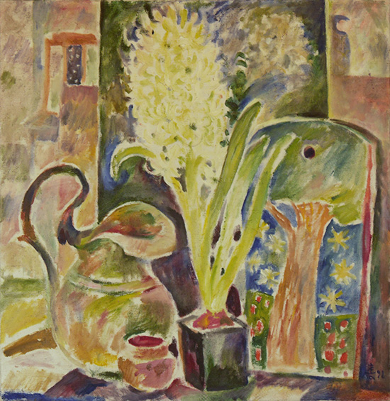 Hyacinth and copper pitcher65x62cm - 1998
