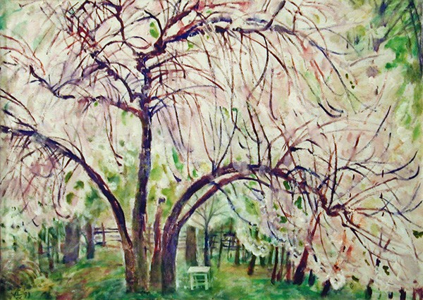 Cherry tree garden51x70cm - 1999