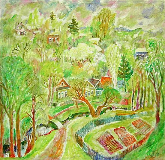 Blossoming gardens69x69cm - 1999