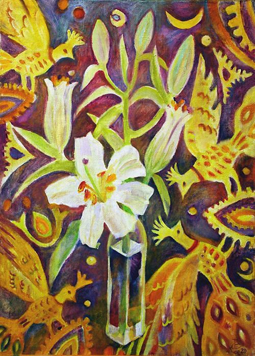 Turkish headscarf and lily80x57cm - 2000