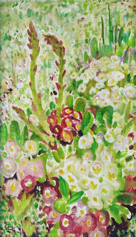 Primula and asparagus59x35cm - 2001