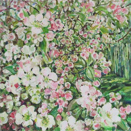 Apple blossom flowers60x60cm - 2013