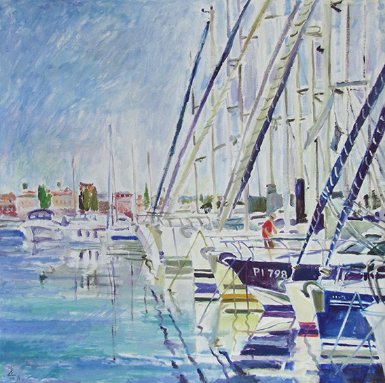 Water in the marina68x68cm - 2014