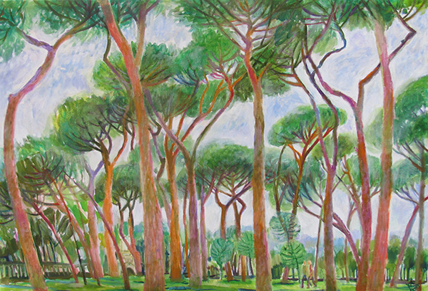 Stone pines in Borghese68x100cm - 2015