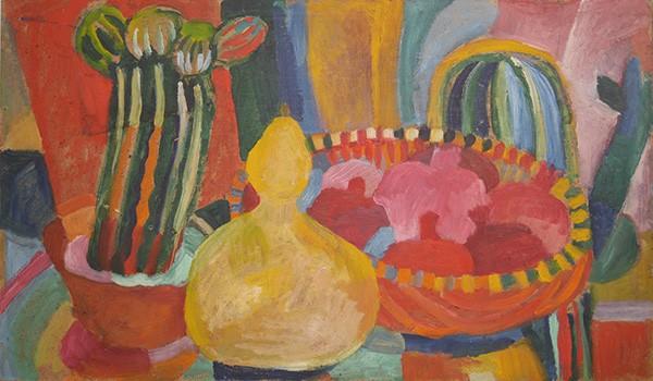 Фрукты, горлянка и кактусы 235x60см - 1985