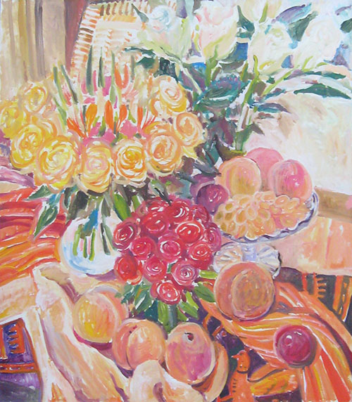 Peaches and roses80x70cm - 2007